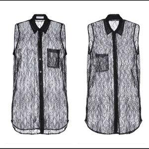 Equipment sleeveless blouse sheer black lace